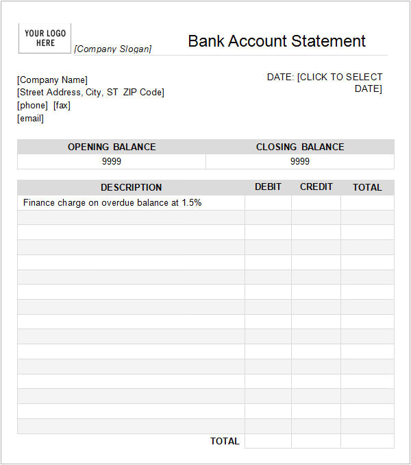bank statement templates