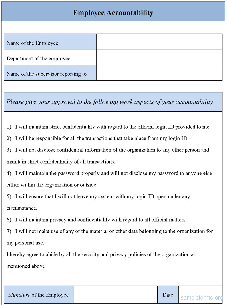 Accountability Contract Template Employee Accountability form Sample forms