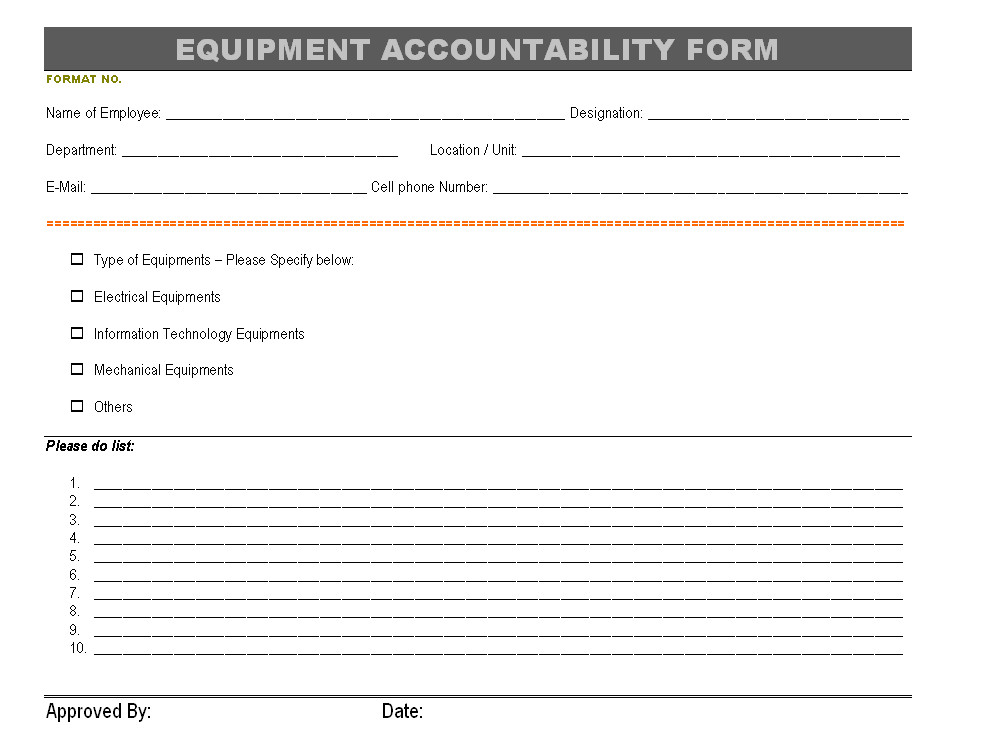 equipment accountability form
