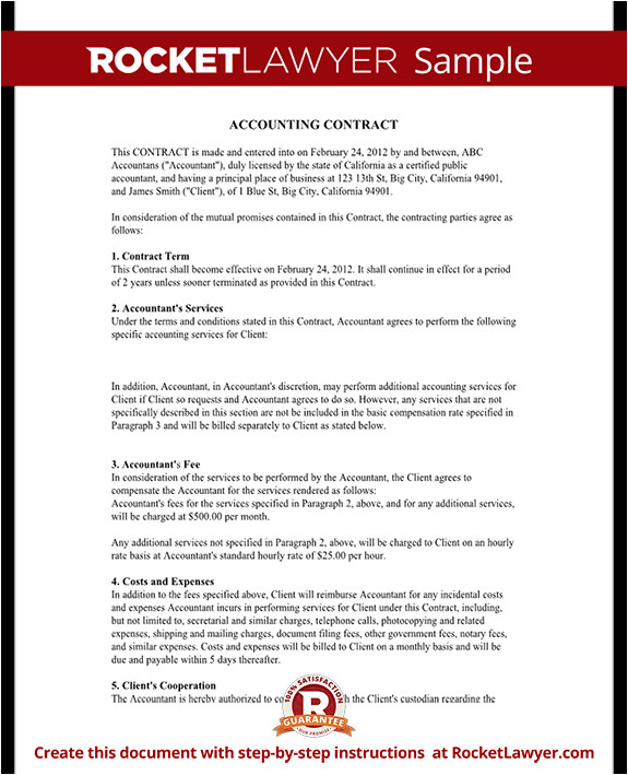 Accounting Services Contract Template Bookkeeping Contract Agreement with Template