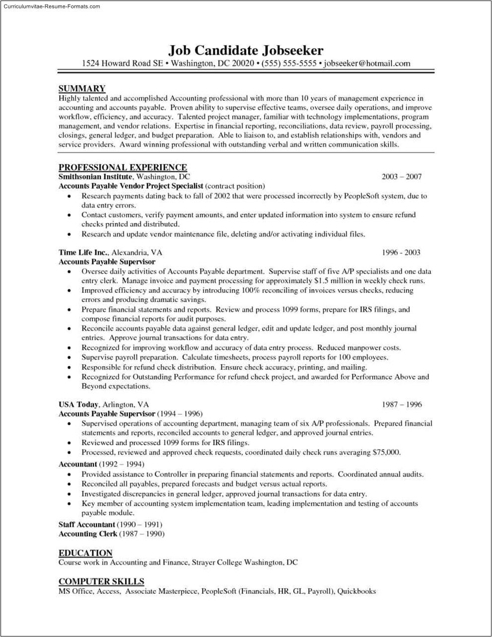 accounts payable resume templates