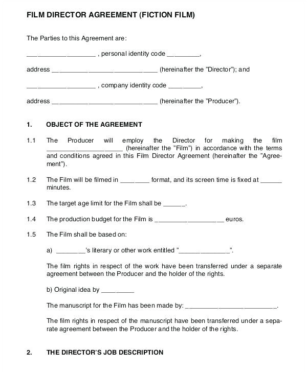 Actors Contract Template Uk 7 Film Production Contract Examples Pdf Examples