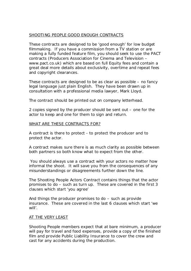Actors Contract Template Uk Actors Contract