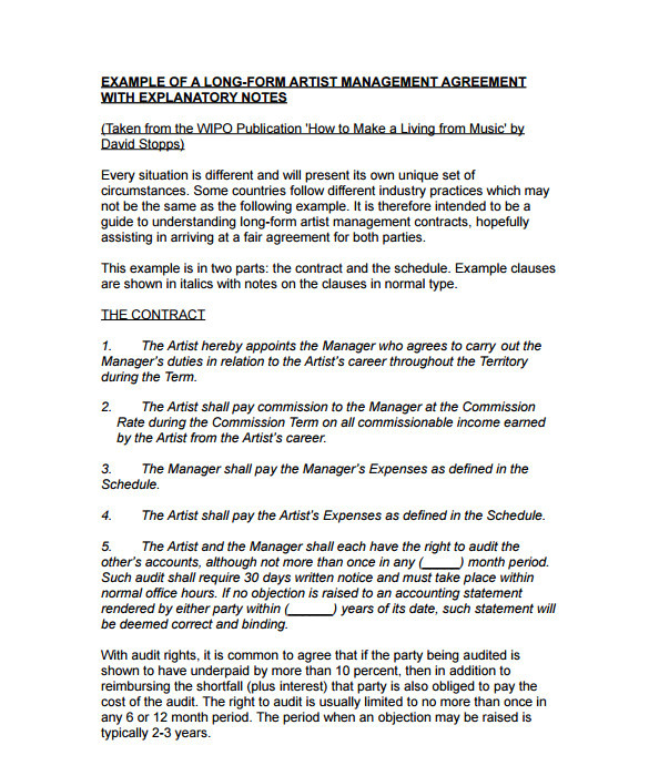 entertainment management contract template