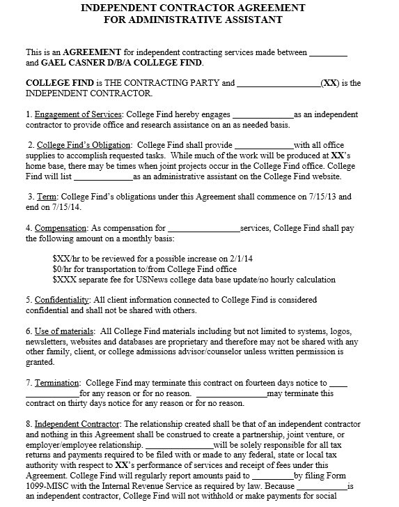 independent contractor agreement samples