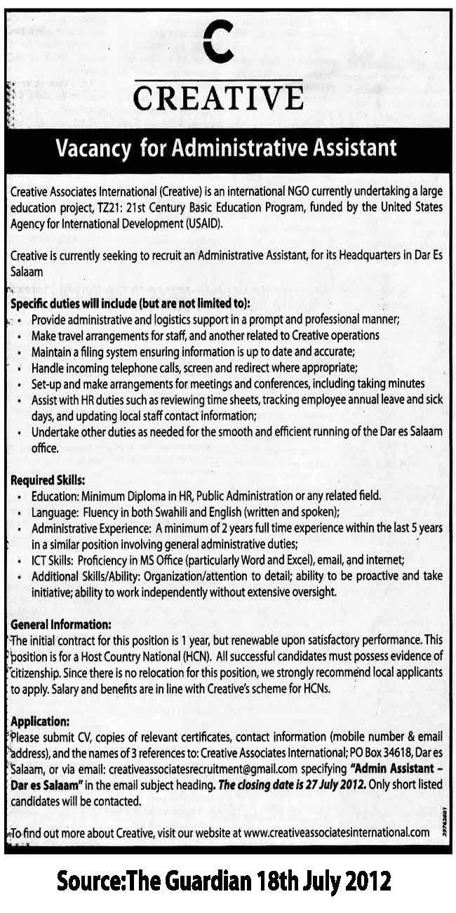 job listing administrative assistant 15