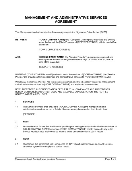 management and administrative services agreement d164