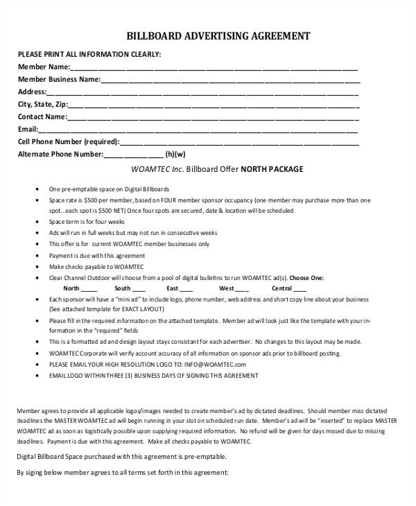 advertising contract templates