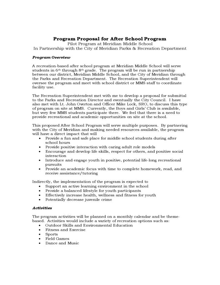 After School Program Contract Template Program Proposal for after School Program Free Download