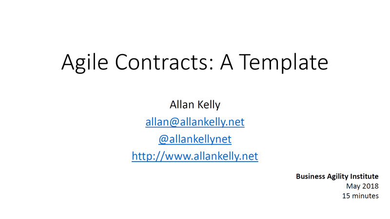presentations agile contracts a template by allan kelly