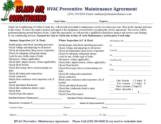 Air Conditioning Maintenance Contract Template Preventive Maintenance island Air