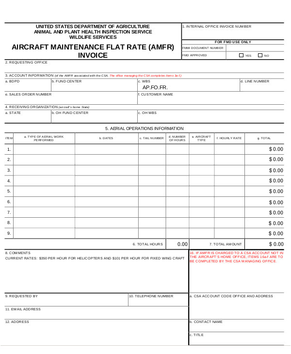 Aircraft Maintenance Contract Template 10 Maintenance Invoice Templates Free Sample Example