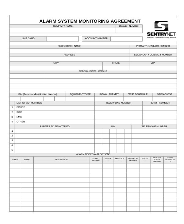 Alarm Monitoring Contract Template 9 Sample Company Contract Agreements Word Pdf