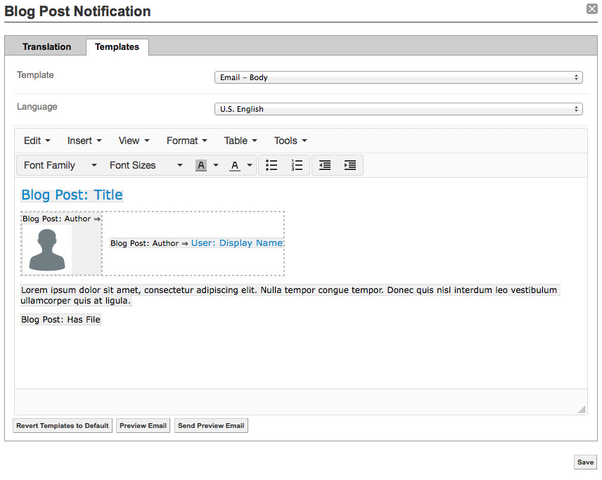 examples customize email templates and notifications