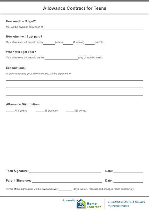 Allowance Contract Template Allowance Contract for Teens Allowance Contract