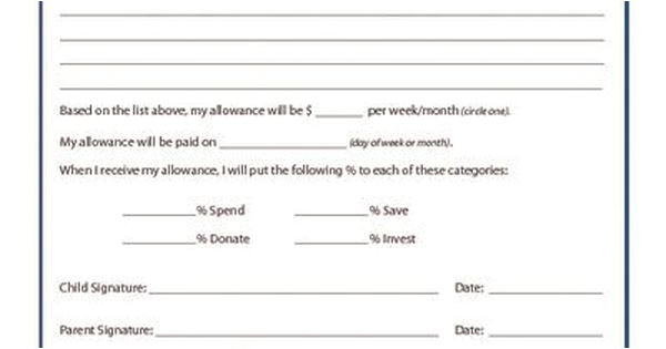 Allowance Contract Template Allowance Contract Kid Pointz Parenting Pinterest
