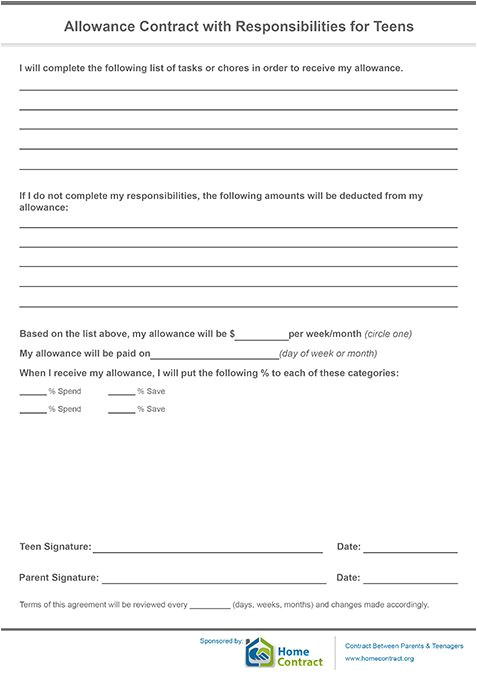 Allowance Contract Template Allowance Contract with Responsibilities for Teens