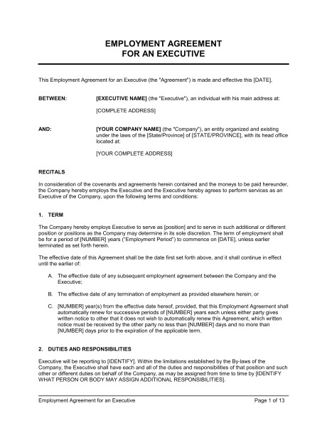 Allowance Contract Template Employment Agreement Executive with Car Allowance Template