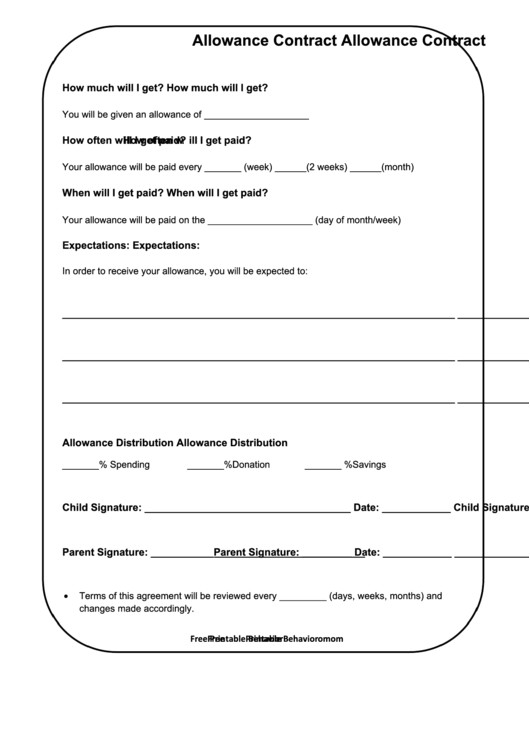 Allowance Contract Template Fillable Allowance Contract Template Printable Pdf Download