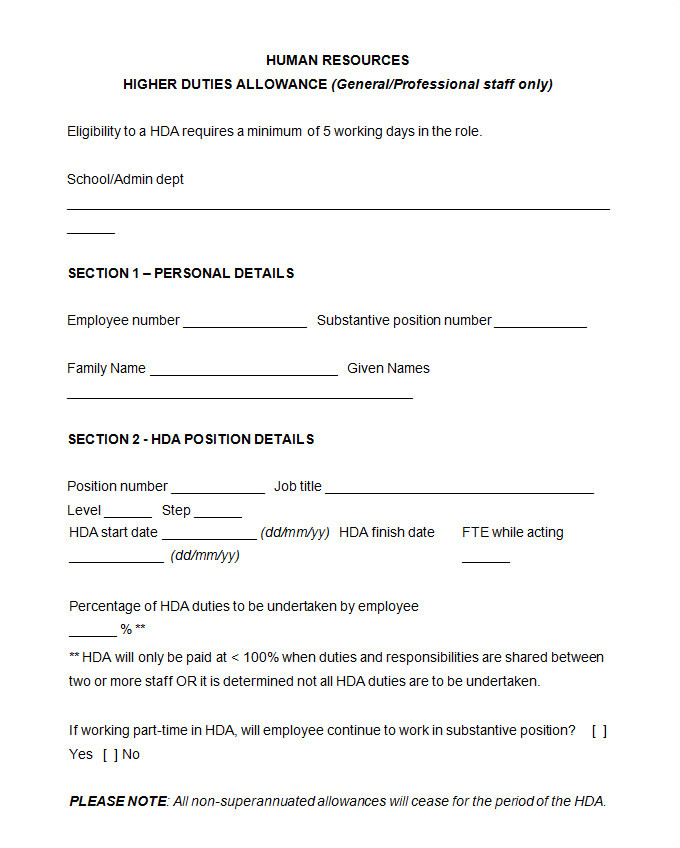 hr agreement template