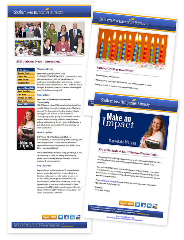 alumni office emailnewsletter templates snhu