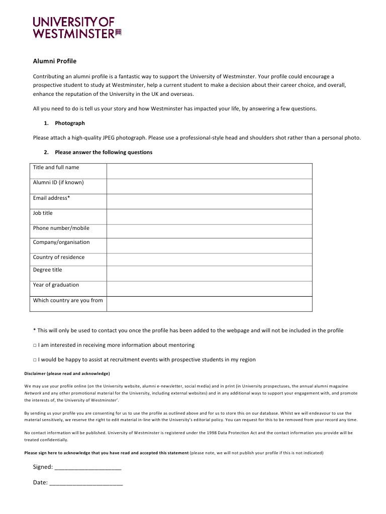 alumni profile template form