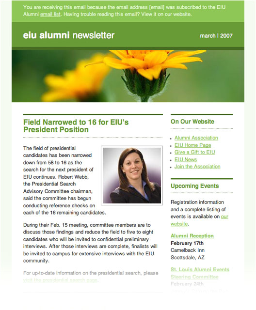 Alumni Email Template Extreme Email Makeover Vol 3 Eiu Alumni association