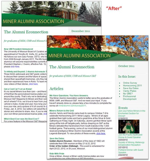 Alumni Email Template Imodules Client Community Miner Alumni association Wins
