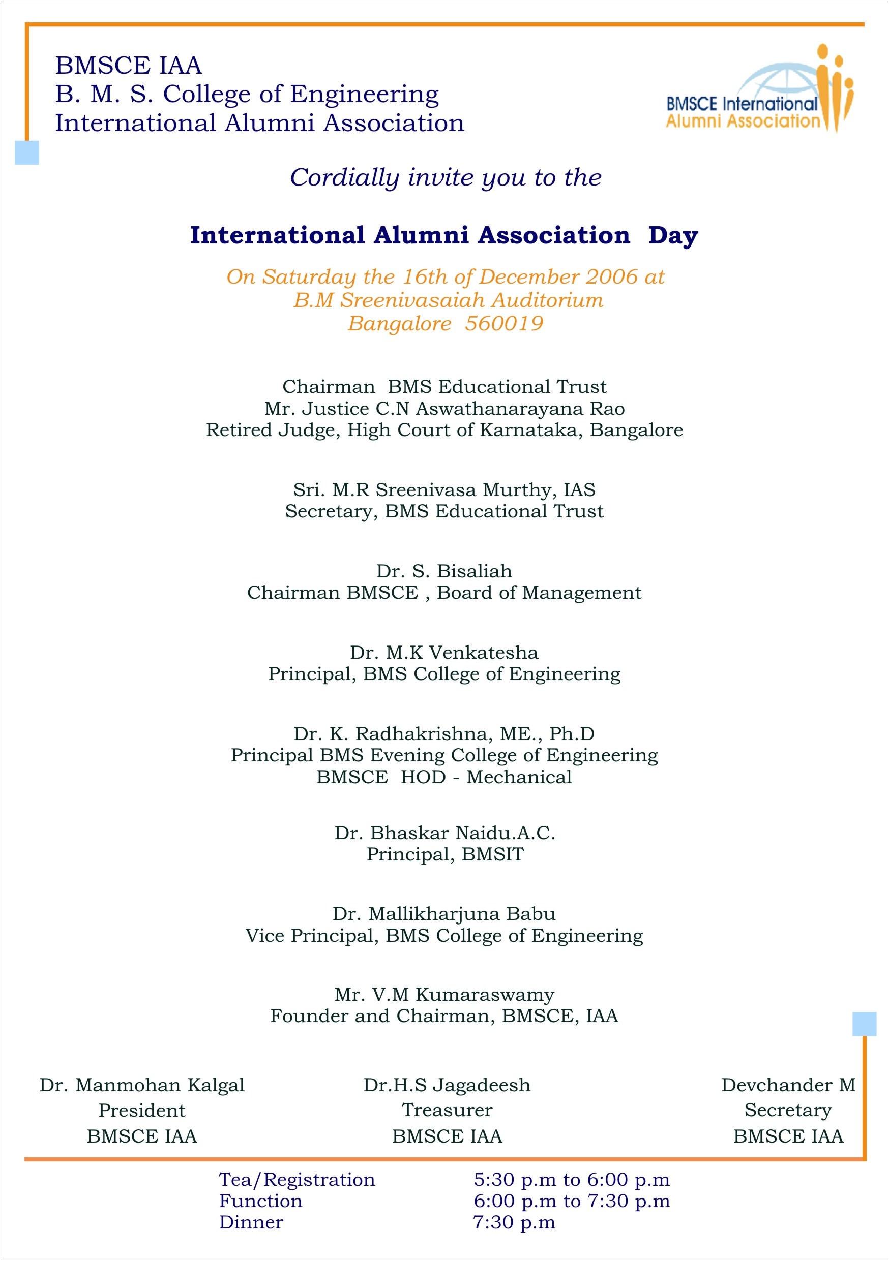 international alumni association day bmsce iaa function