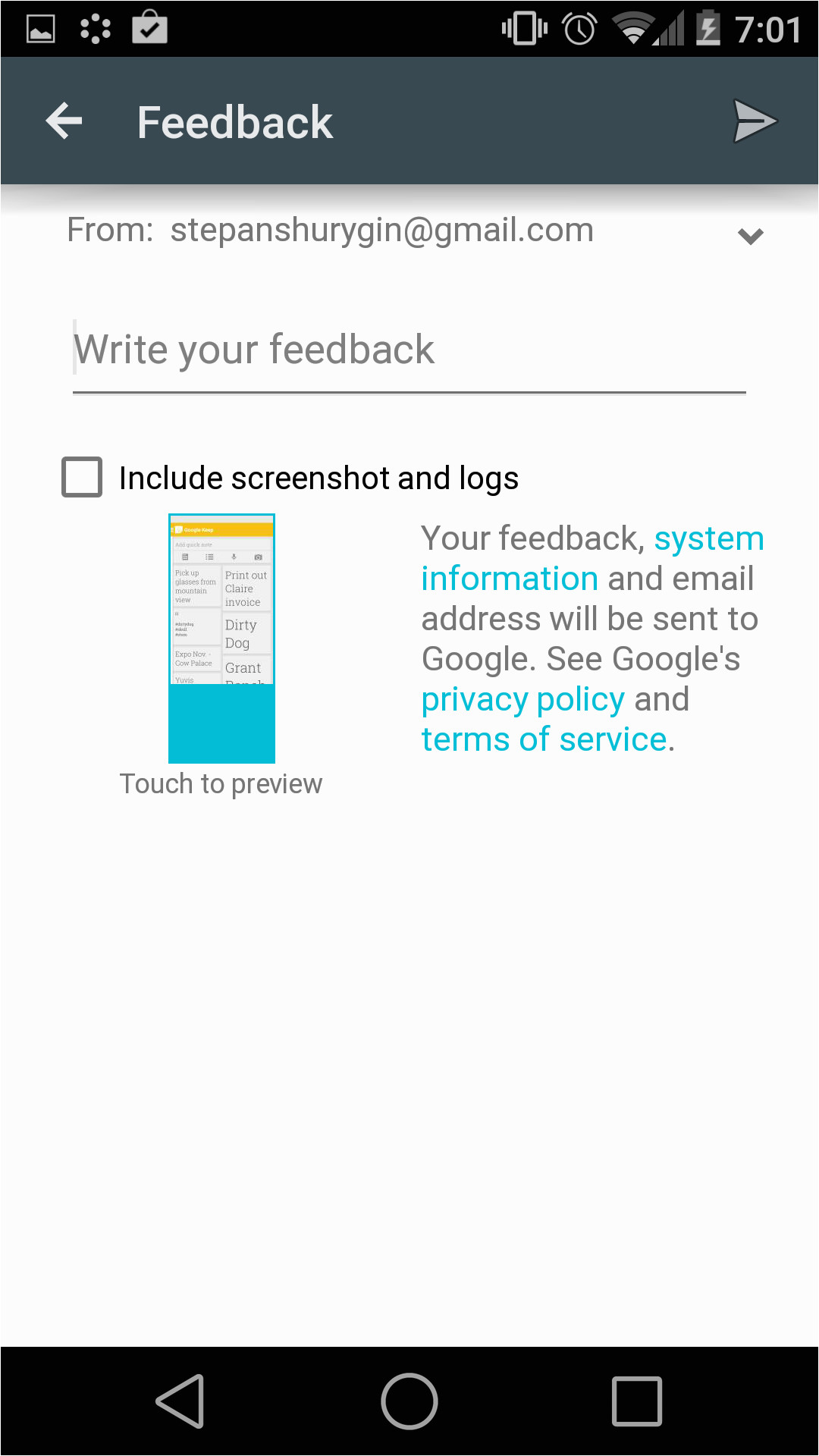 utilizing googles template user feedback form
