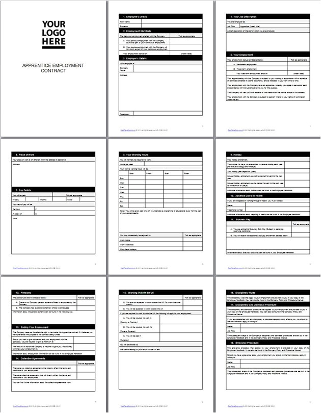 apprentice employment contract template
