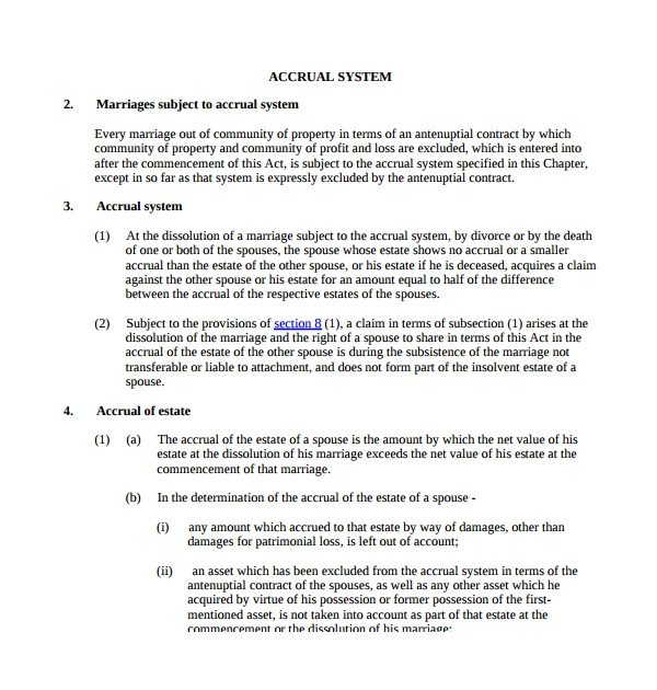 Antenuptial Contract without Accrual Template Marriage Contract Template 14 Download Free Documents