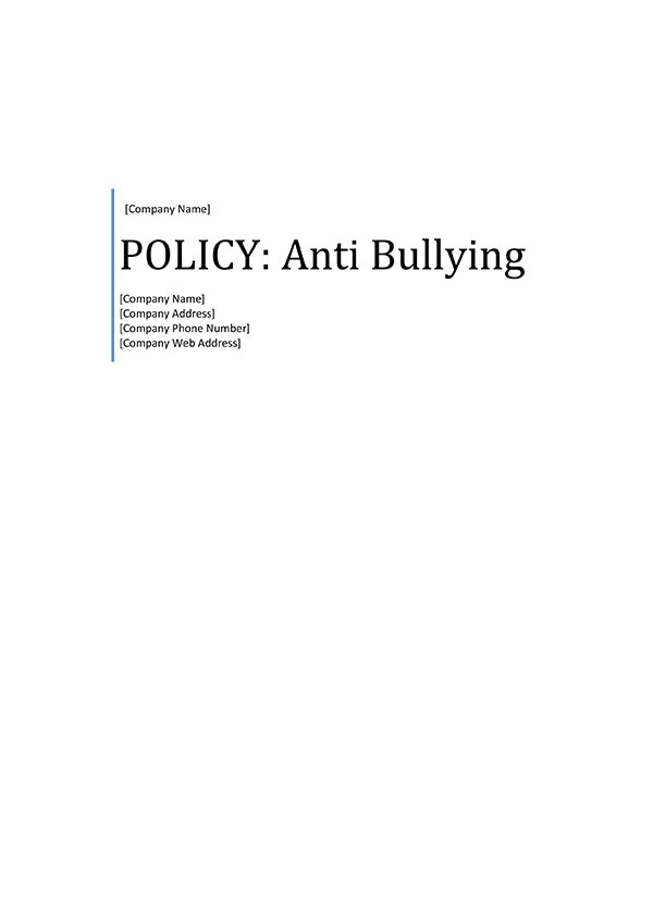 anti bullying policy template