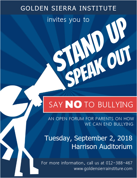 anti bullying public forum event flyer template design