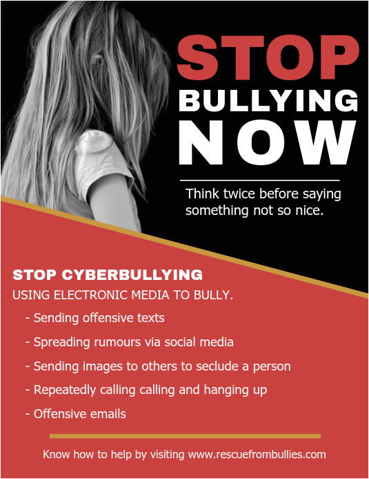 stop cyber bullying flyer template design