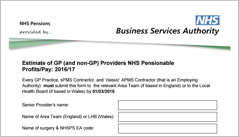867 nhsbsa reminds practices to return form on estimate of gp pensionable income