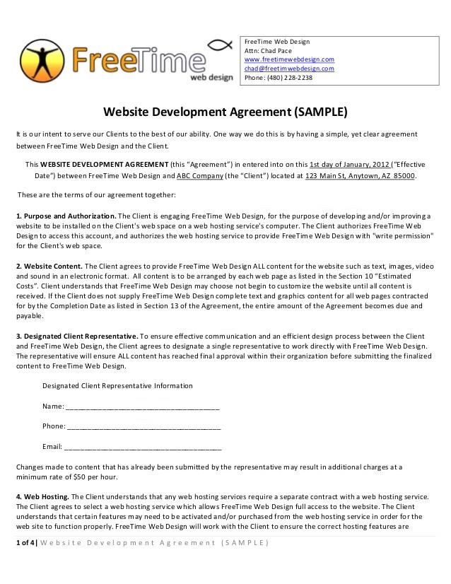 sample websitedevelopmentagreement