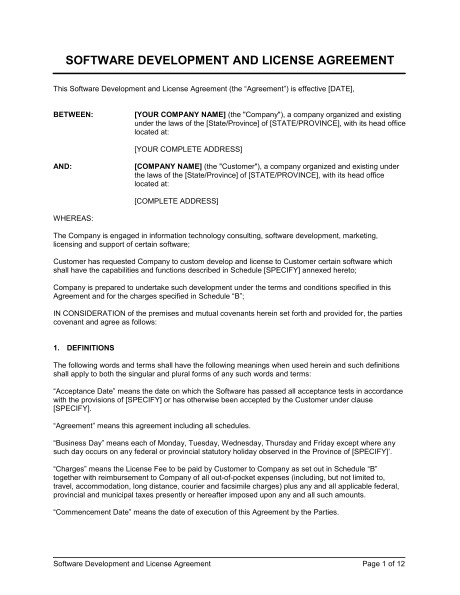 software development and license agreement d801