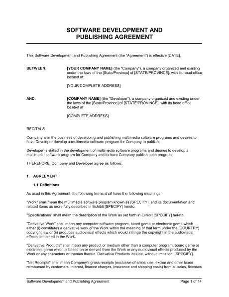 App Development Contract Template software Development and Publishing Agreement Template
