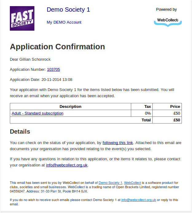 application confirmation email