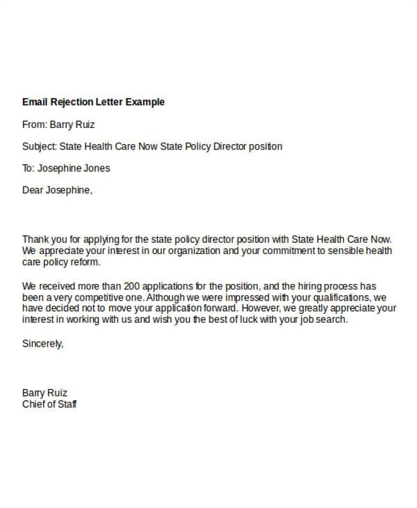 sample email rejection letter