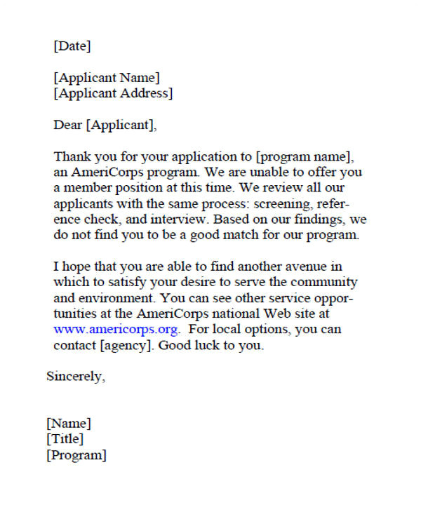 job applicant rejection letters template