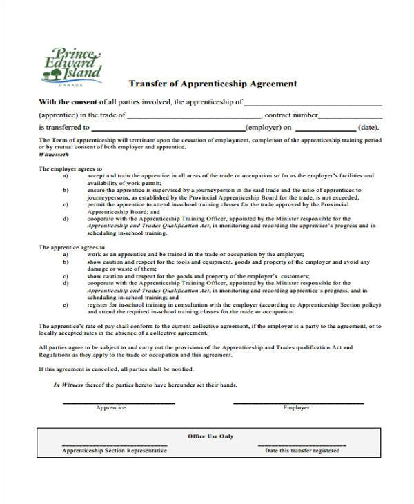 sample apprenticeship agreement form