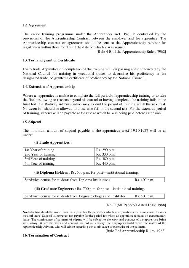 mc8apprentices act1961 training of apprentices in railway establishments