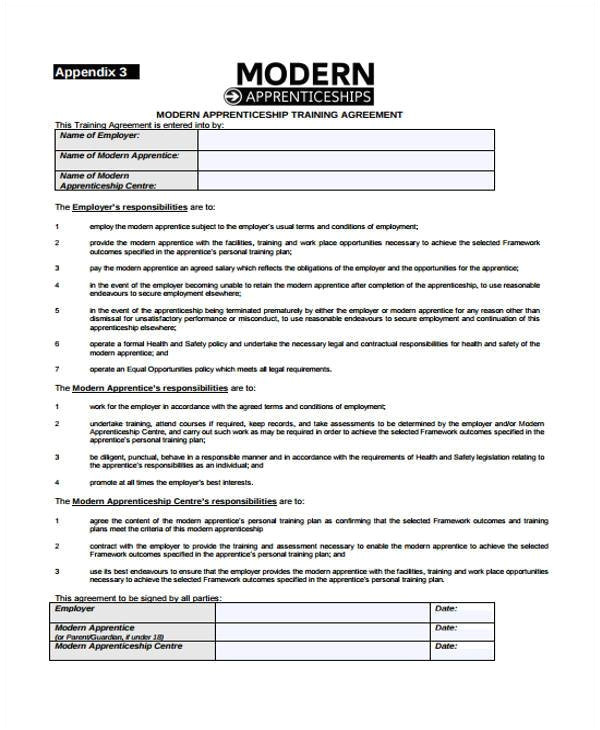 Apprenticeship Contract Of Employment Template How to Make An Apprenticeship Contract Agreement Free