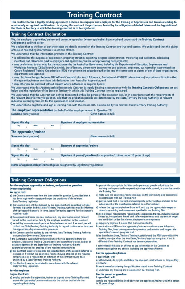Apprenticeship Contract Template Uk 14 Training Contract Samples Templates Free Samples