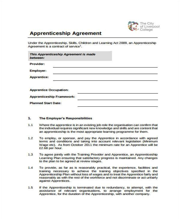 Apprenticeship Contract Template Uk 7 Apprenticeship Agreement form Samples Free Sample