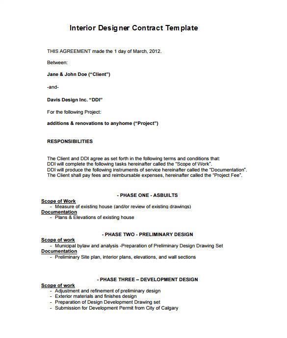 Architect Contract Template 7 Interior Designer Contract Templates Word Pages Pdf
