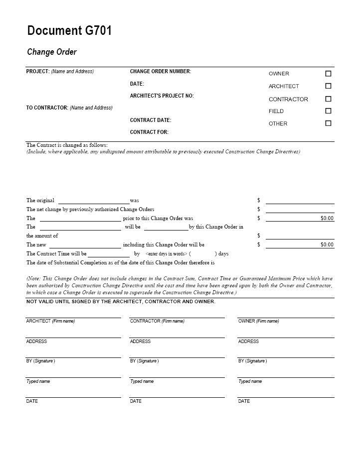 Architect Contract Template Aia G701 Change order form Template for Excel Change