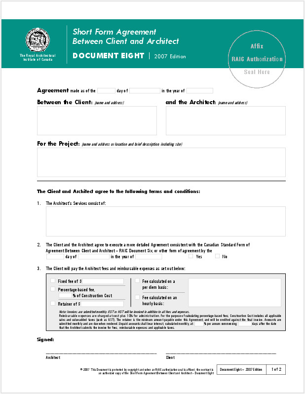 Architect Contract Template Contracts Ontario association Of Architects